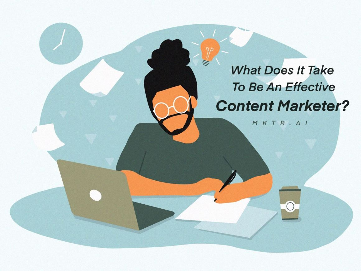 """Illustrated cover image for the article """"What it takes to become an effective content marketer"""" by MKTR.AI"""