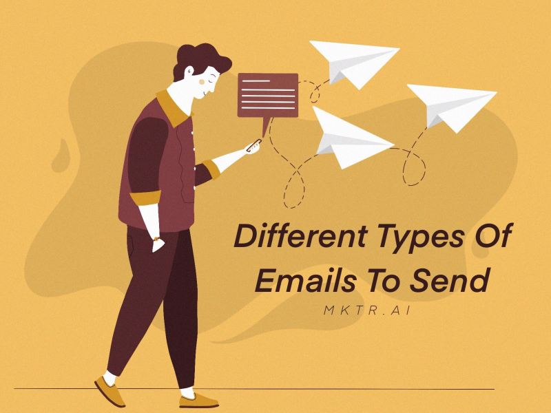 illustrated cover image of a man walking and sending an email marketing campaign for an article about the types of emails to include in an email marketing strategy