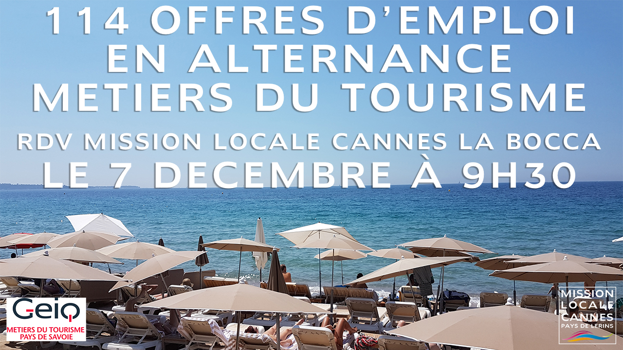 Offres emploi alternance tourisme GEIQ Mission Locale Cannes