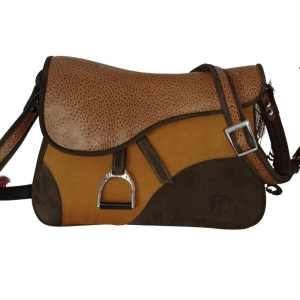 Besace artisanale en cuir en forme de selle de cheval made in France