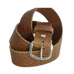 Ceinture en cuir marron effet croco made in France