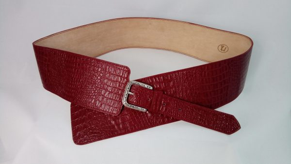 Ceinture large en cuir rouge made in France