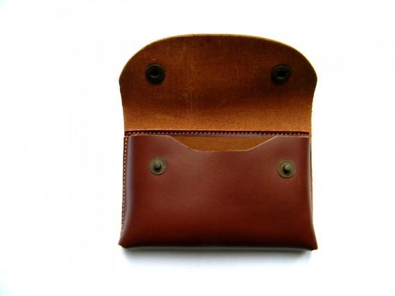 Porte-cartes pour ceinture en cuir marron fabriqué en France