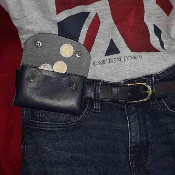 Porte-cartes en cuir bleu marine portable à la ceinture