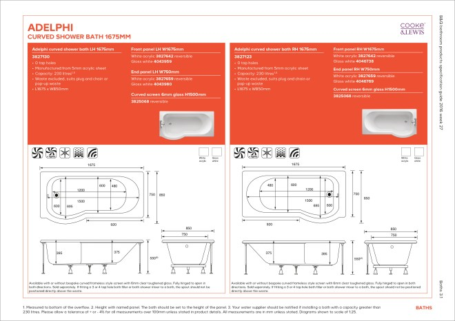 B&Q bathroom products specification guide