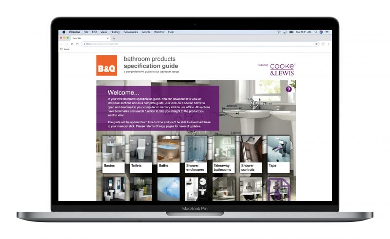 B&Q Bathroom Products Specification Guide website