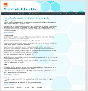B&Q Chemicals website sample instruction page to users