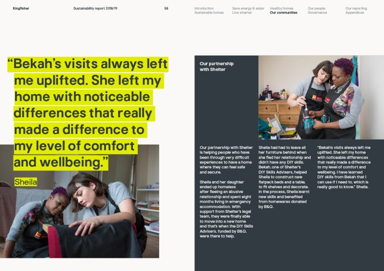 Kingfisher Sustainability Report 2019 communities page 58