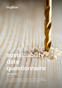 Sustainability data questionnaire 2018-19