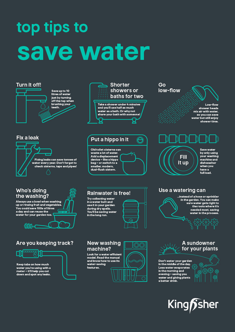 Kingfisher Sustainable Top Tips Saving water A3 poster