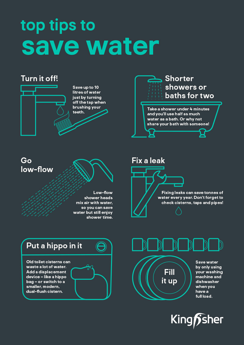 Kingfisher Top Tips Saving water A4 poster