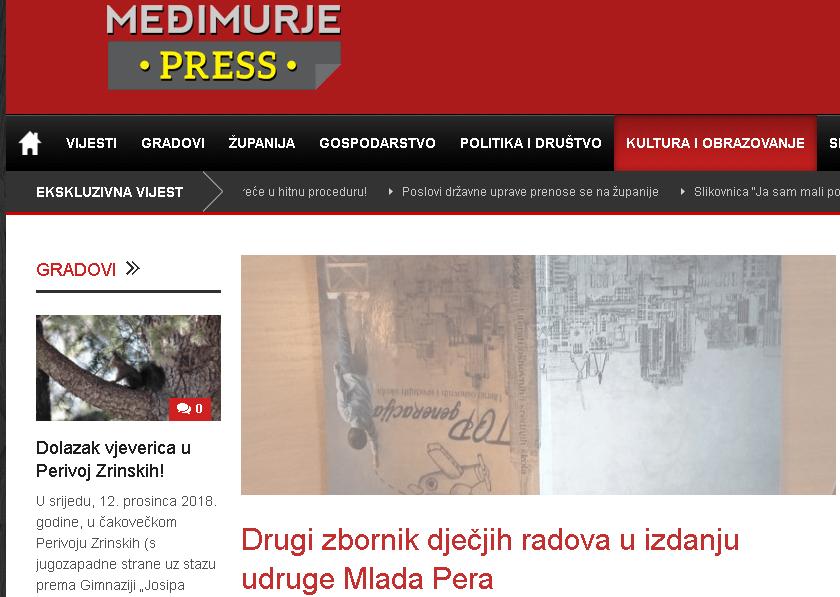 Međimurjepress: Drugi zbornik dječjih radova u izdanju udruge Mlada Pera