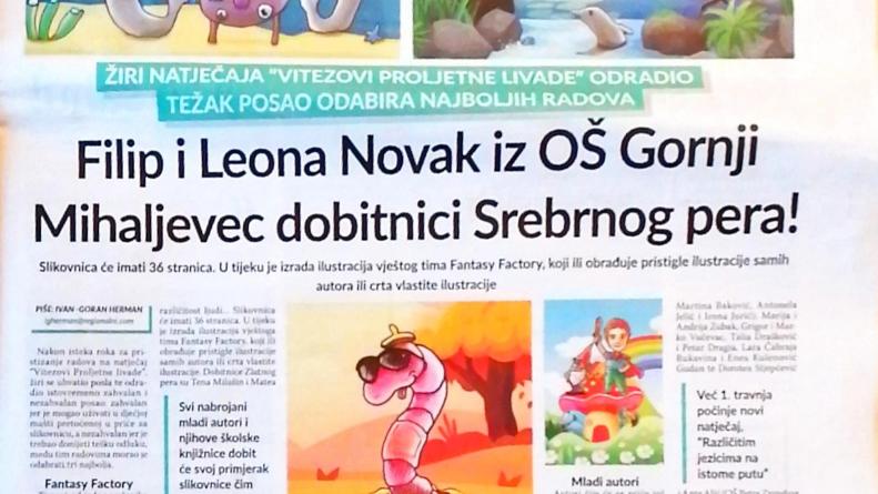 7 Plus Regionalni: Filip i Leona Novak iz OŠ Gornji Mihaljevec dobitnici Srebrnog pera!