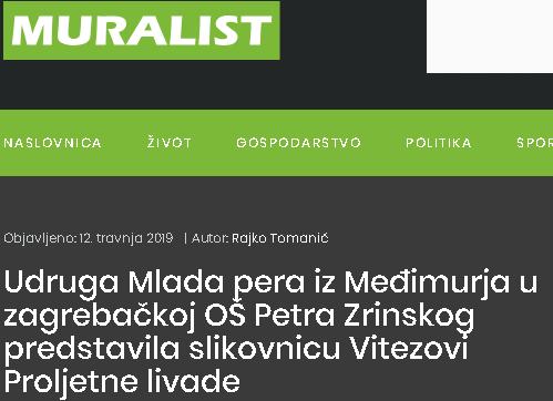 Muralist: Udruga Mlada pera iz Međimurja u zagrebačkoj OŠ Petra Zrinskog predstavila slikovnicu Vitezovi Proljetne livade