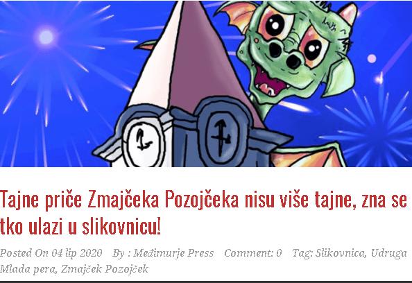 Međimurje Press: Tajne priče Zmajčeka Pozojčeka nisu više tajne, zna se tko ulazi u slikovnicu!
