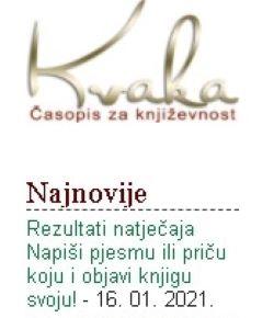 Časopis Kvaka: Rezultati natječaja Napiši pjesmu ili priču koju i objavi knjigu svoju!