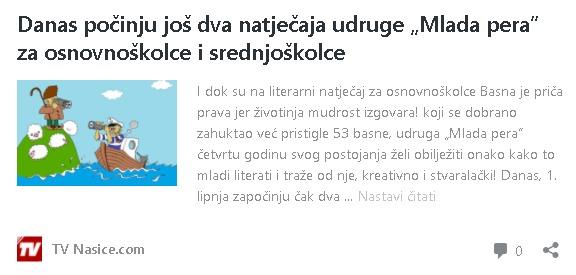 """TV Našice: Danas počinju još dva natječaja udruge """"Mlada pera"""" za osnovnoškolce i srednjoškolce"""