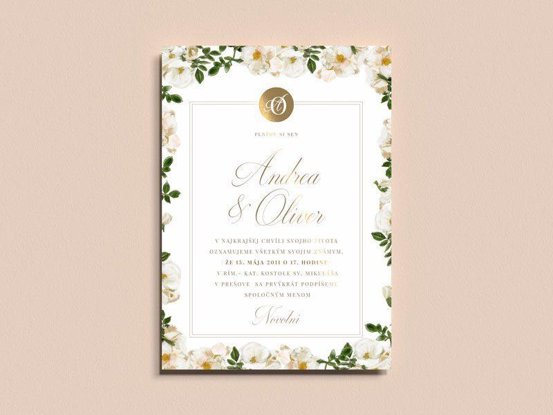 svadobné oznámenie biele ruže so zlátením