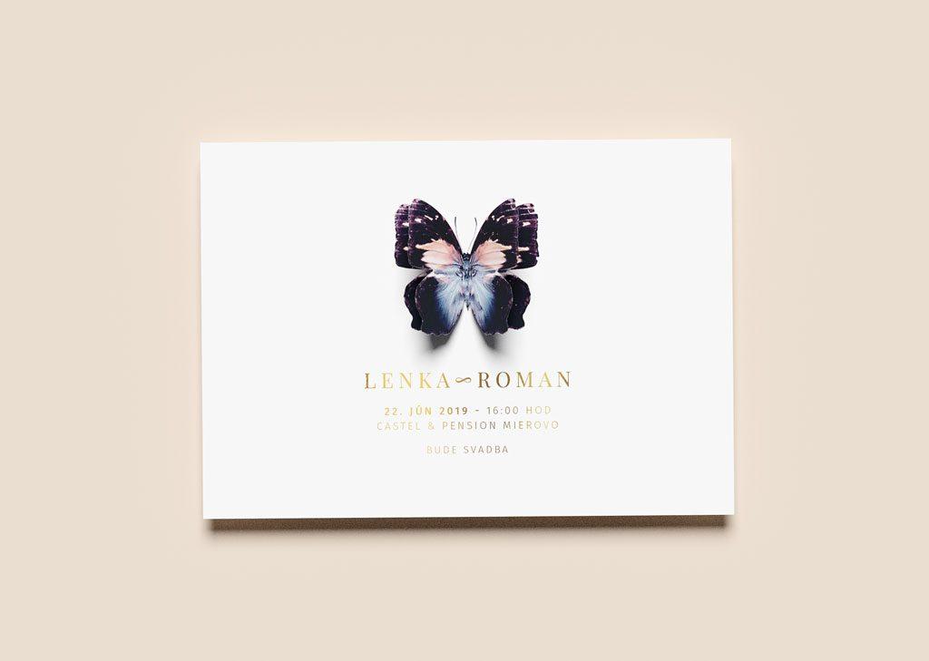 svadobné oznámenie s vyrezaným dolepeným motýľom