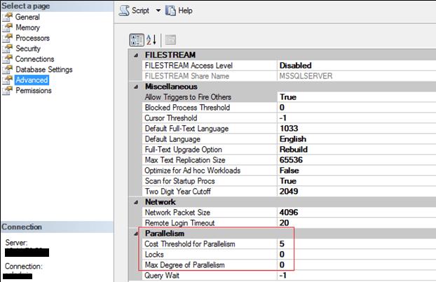 Screenshot of Parallelism settings