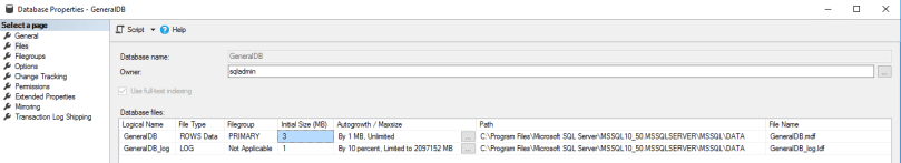 db file default - 2k8r2