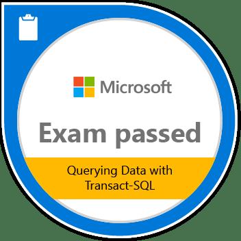 Microsoft Exam Passed 70-761: Querying Data with Transact-SQL