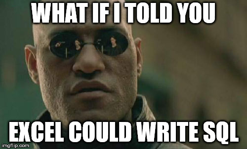 Morpheus SQL and Excel