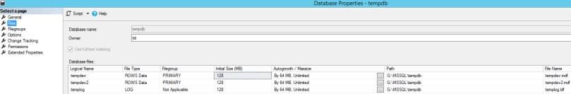 new tempdb files configuration