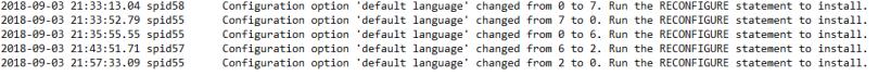 SQL Server error log default language