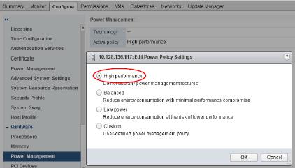 VMware power setting