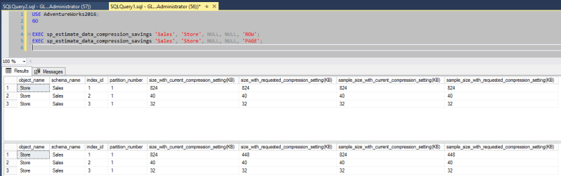 Demo of sp_estimate_data_compression_savings - PAGE and ROW