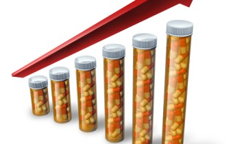 Rising health care costs soaring with pharmaceutical pill bottles increasing in size with a red arrow pointing higher as a medical concept showing the high price of health insurance and the challenge to financialy pay for medicine and hospital care.