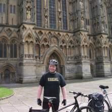 Kev outside Wells Cathedral.