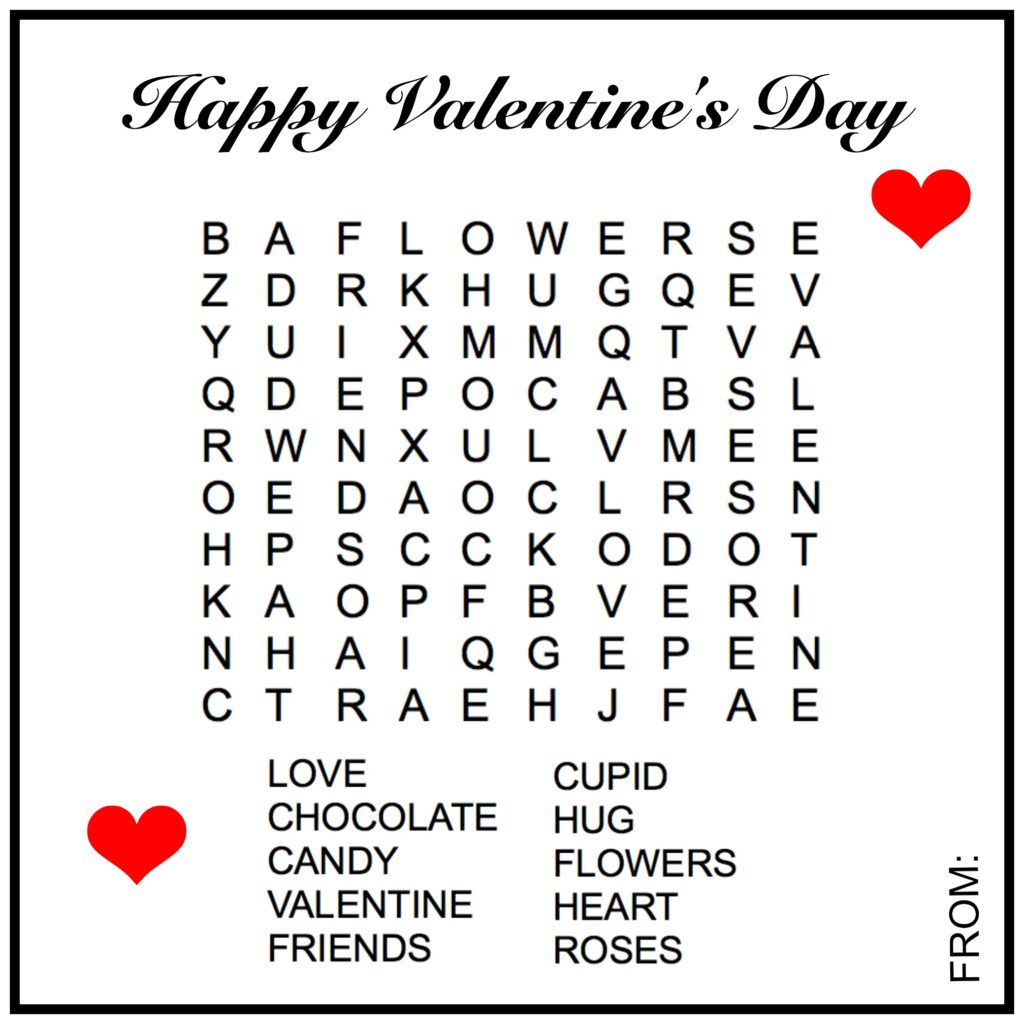 Valentine Word Search Mountain Laurel Federal Credit Union