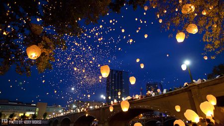 Sky Lanterns over Grand Rapids