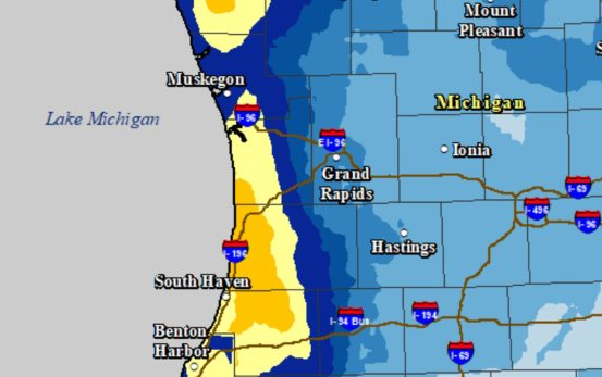 The Grand Rapids area will be surrounded by heavy lake-effect snow on Christmas Eve, Christmas Day
