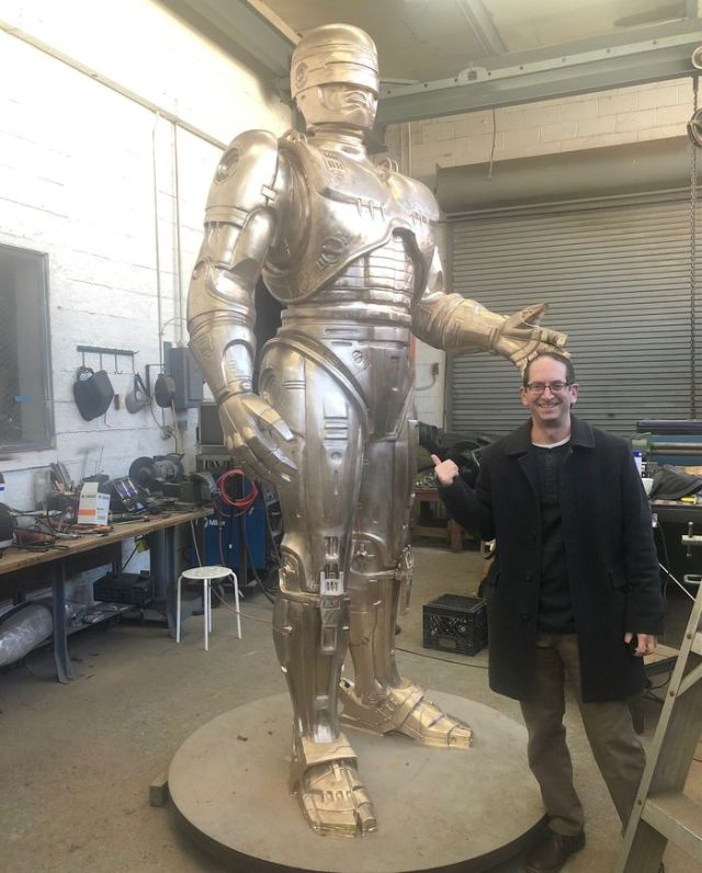 After 11 years, Detroit's RoboCop statue if just about complete, standing 11-feet talk and weighing 2 and a half tons. (Photo by Matt Densmore)