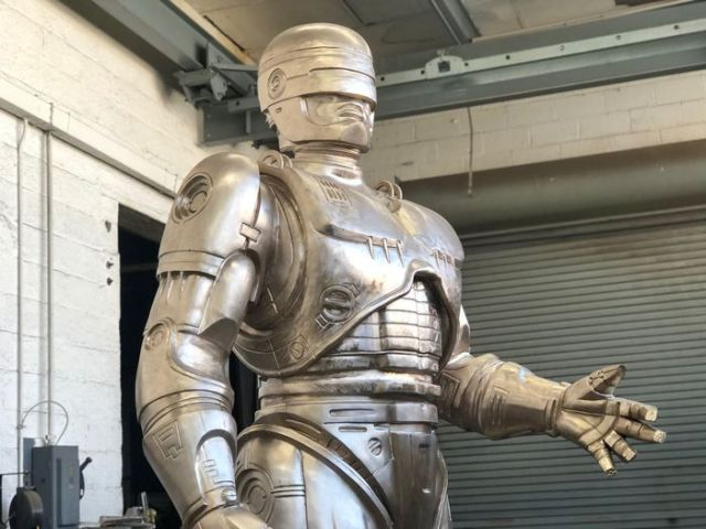 After 11 years, Detroit's RoboCop statue if just about complete, standing 11-feet talk and weighing 2 and a half tons. (Photo by Edward Pevos   MLive)