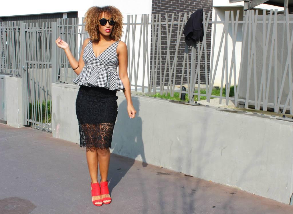 jupe crayon dentelle, top zara, chaussures Zara