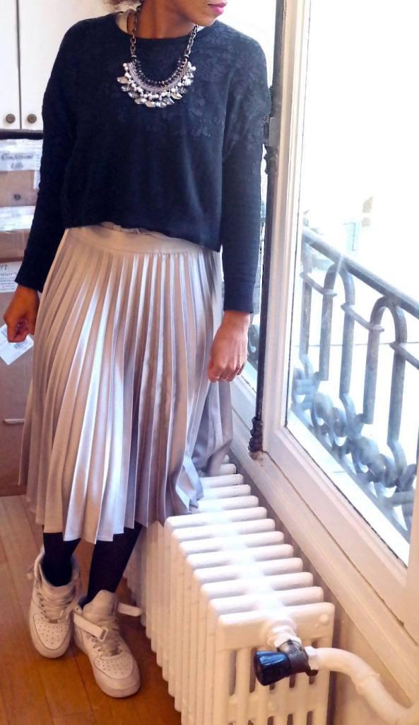 La jupe plissée métallisée