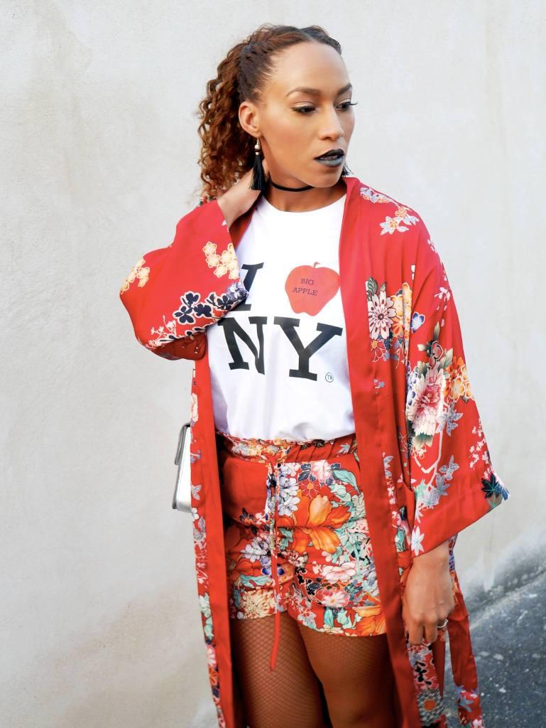 ensemble kimono rouge
