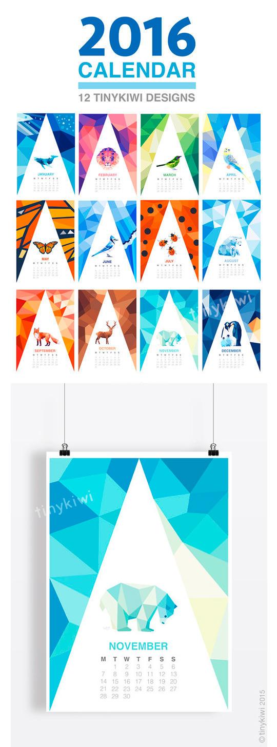 Geometric animals - Calendarios Creativos 2016
