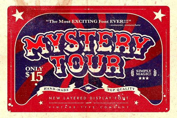 Fuentes inspiradas en el ciroc | Mystery Tour Display Font | MlMonferrer