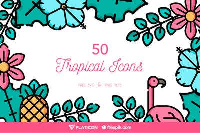 Tropical icon set | Recursos gratuitos de junio para diseñadores  | mlmonferrer.es