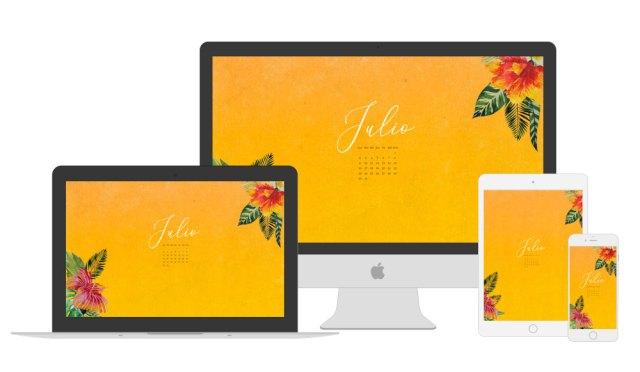 Vista del calendario descargable de julio en los diferentes dispositivos