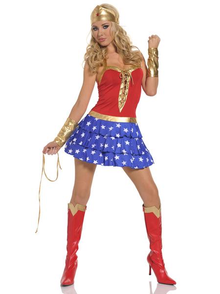 Costume sexy per adulti di supergirl in blu e rosso di poliestere per donne Rosso