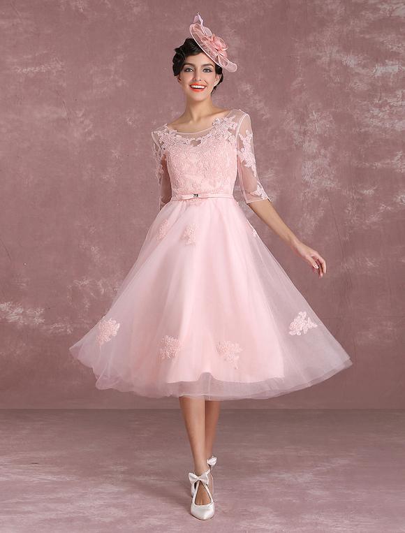 Short Wedding Dresses 2017 Vintage Soft Pink Bridal Gown