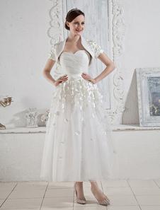 White Wedding Dresses Short Strapless Bridal Dress Sash Bow Pleated Sweetheart Neck Tea Length Wedding Reception Dress With Jacket Top