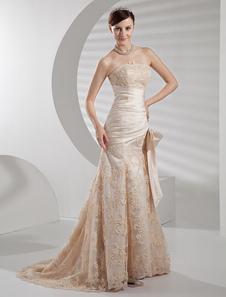 Strapless Applique Beading Satin Luxury Wedding Dress