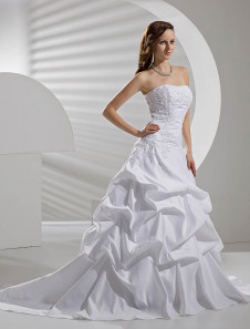White Wedding Dresses Taffeta Dropped Waist Ruched Bridal Gown Strapless Lace Applique Beading Court Train Bridal Dress